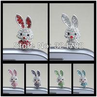 30pcs Silver Tone Pave Crystal Rhinestones Stopper Cap Rabbit beads Anti Dust 3.5mm Earphone Jack Plug Cellphone Dustproof Plug