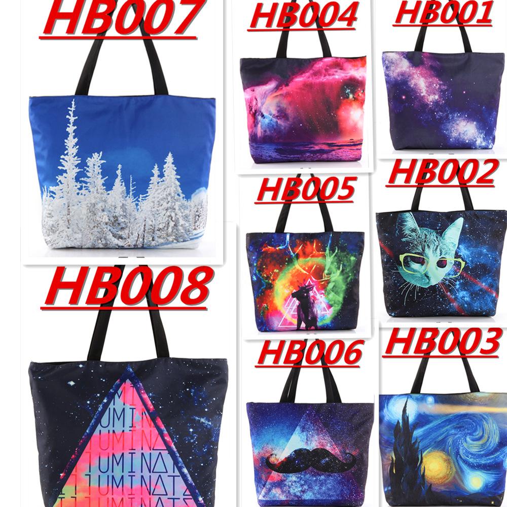 WHOLESALE DROP SHIPPING Galaxy Shopping Canvas Handbag Computer LAPTOP Ipad Recycle Totes Shoulder Bag Printing Shopping Folded(China (Mainland))