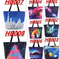 WHOLESALE DROP SHIPPING  Galaxy Shopping Canvas Handbag Computer LAPTOP Ipad Recycle Totes Shoulder Bag Printing Shopping Folded
