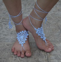 Crochet BarefootSandals, Bridal bridesmaid Sandles, Trinity, Foot Jewelry, Bracelets, Anklets, White, Black  custom colors
