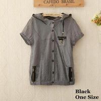 1090 2013 new brand women's polo shirts, women's hooded blouses short sleeve cotton, plaid pattern shirt women slim shirt