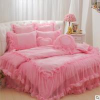 4pcs/6pcs pink princess bedding lace edge bedspread Korean comforter set queen bed skirt