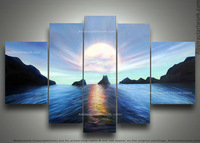 Free shipping, unique gift handmade sunrise seascape landscape oil painting on canvas wall art Home decoration 5 pcs/set  framed