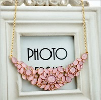 Free Shipping(MOQ 10$) European Brand Jc Luxury Bead Simulated Gemstone Rhineston Crystal Floral Choker Bib Women Necklace