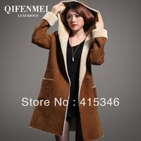 Desigual Free Shipping 2013 sheep wool fur one piece women's long design genuine fur coat leather clothing women's overcoat