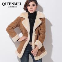 Desigual Free Shipping 2014 Women Winter Brand Coat New Lamb Fur Coat Slim Leather Female Lady Coat 6 Sizes S M L XL XXL XXXL