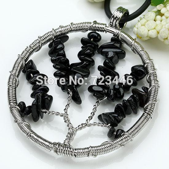 Natural Schorl Gravel Beads Round Tree Of Life Winding Reiki Pendulum Pendant Charms Health Amulet Numen Classic Jewelry 10X(China (Mainland))
