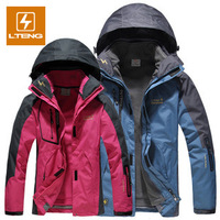 2013 New Male and female Outwear 3in1 Waterproof Windproof Soft Shell Fleece Outdoor Jackets Hiking Fish Clothes J0011