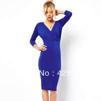 Fashion ladies 2014 spring new arrival elegant pleated V-neck long-sleeve dress slim hip navy blue knee-length bodycon dresses