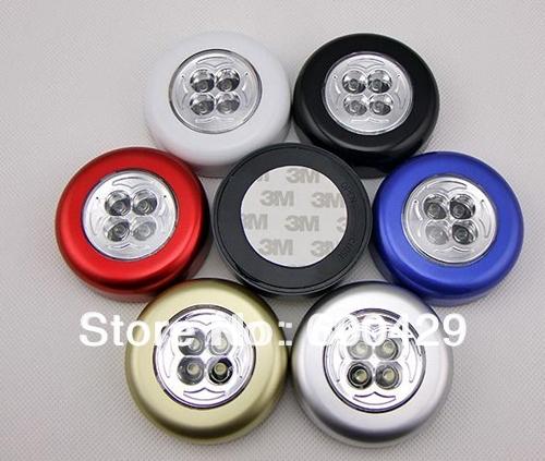 240pcs/lot 4 LED Battery Powered Stick Tap Touch Light Lamp Closet Hiking Bedside Tent Free Shipping(China (Mainland))