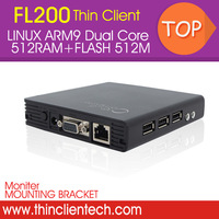Free Ship Net Computer Mini PC Station Network Terminal FL200 Embedded Linux Dual Core 1G,RAM512M,FLASH512M Support WIN7/XP/2008