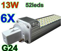 13W 1280 Lumens 52leds 5050SMD G24 LED Corn Horizon Down Light Bulb Lamp Lighting 85~265V 6pcs/lot Free shipping