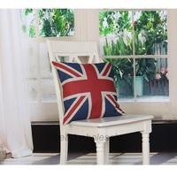 Free Shipping The Union Jack Pattern Rustic Linen Decorative Pillow Cover Vintage Pillow Case 45cmx45cm