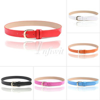 Hot Sale PU Leather Skinny Waistband Strap Thin Fashion Adjustable Belt 98*3cm