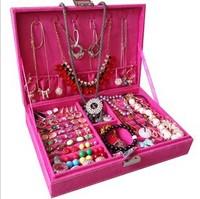 Fashion jewerly organizer box earring storage box fashion princess jewelry storage box 28*19*6.4cm, free shipping