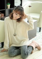 2013autumn women's loose plus size batwing shirt cutout sweater female sweater basic shirt outerwear