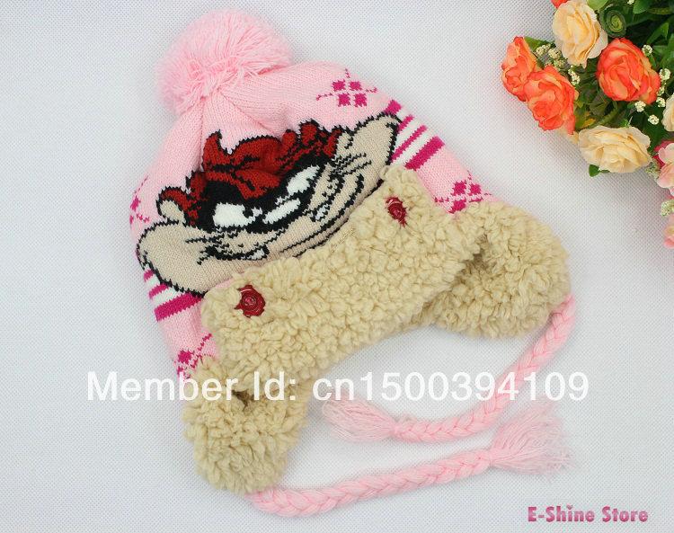 1piece Girls winter hats caps knitting wool warm cute cartoon kids hats Children crochet hat Free shipping(China (Mainland))