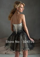 Gorgeous ivory and black short prom dress Style 9233 Beaded Tulle 2014 new damas dress