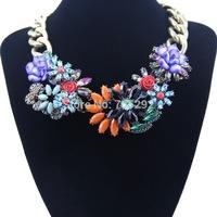 Multi-colors Big Flower Pendants Bib Statement Necklace for Women Free Shipping