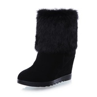 New Arrival 2013 winter rabbit fur genuine cow leather snow boots comfortable platform wedges  martin boots high-heeled shoes