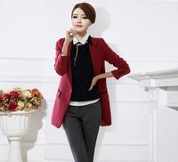 2014 four seasonTops Fashion Women's medium-long  black Blazer Colored slim V-neck long sleeve plus size XXXL suit jacket 8162