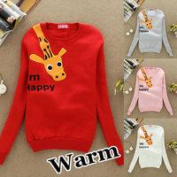 S44 2013 Hot sale!! Women's Hoodies Sweatshirts Funny Happy Giraffe Outerwear Hooded Ladies fashion cartoon Coat free shipping