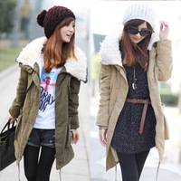 Wholesale 2013 New Hot Womans Womens Ladies Winter Warm Long Sleeve Zipper Fleece Jacket Coat Parka Outwear Thickening Parka