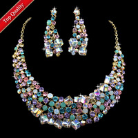 NEW 2013 High Quality Elegant Crystal Wedding Necklace And Earrings Sets For Bride,Women Dinner Party Gift Jewelry,Free Shipping