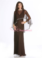 Free shipping custom made floor length V-neck chiffon mother of the bride dresses