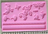 1PCS Butterfly Flower Bird cake decoration cupcake lace fondant molds silicone mold  sugar craft tools Free Shipping