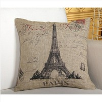 Free Shipping Decorative Pillow Cover Designer Pattern Eiffel Tower Rustic Linen Vintage Sofa Pillow Case 45cmx45cm