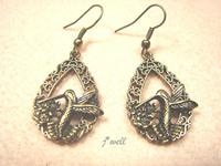 J-WELL Designer Jewelry Vintage Hummingbird Corolla Hoop Dangle Peace Fashion Statement 2013 Lucky Women Brand New Hook Earrings