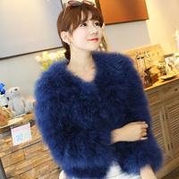 2014 Winter Super Warm Solid colour Ostrich Fur Long Sleeves Fur Coat Women's Short Design Outer Fur Cape Ladies Winter Coats