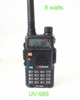 Free shipping+Earpiece Newest High Power 8w 128CH 2013 Dual Band vhf/uhf Amateur transceiver UV-985 VOX DTMF Two-Way Radio