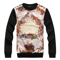 [Big man] 2013 new arrival winter sweater men in Europe and America Christian printing round neck long-sleeved sweater
