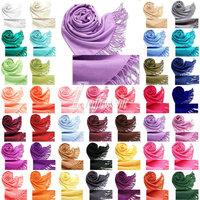 Warm Elegant Women Soft Faux Pashmina Solid Silk Feel Scarf Wrap Shawl Stole
