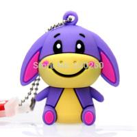 Cartoon Ass usb flash drive True 2GB/4GB/8GB/16GB/32GB silicon purple donkey cute usb flash drive cartoon animal pen drive