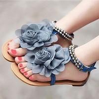 sapatos Sandalias sweet chiffon flower flat flip-flop sandals summer bohemia beaded sexy Femininas Rasteirinha Rasteira Chatitas
