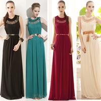 2013 Women's Fashion Bohemia Vintage Hallow out Long Maxi Dress O-neck Sleeveless Beach Dress