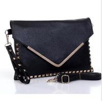 4 Colors PU Leather Shoulder Bag Cross Body & Black Envelop Clutche Vintage Punk Rock Party Clutch Fashion & Women Rivet Handbag