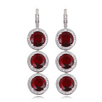 No Minimum Order Women Deluxe Round Shape Long Crystal Earrings  Czech Zirconia Crystal Wedding Party 65915