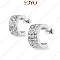 View Larger Image Austria Crystal 18K White Gold Plated Fashion Semi Cycle Stud Earrings (YOYO E072W1)