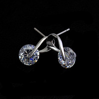 2014 Fashion round Cubic Zircon stud earrings platinum plated stunning brilliant earrings for women party/wedding (Min order $8)