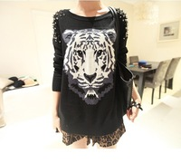 2013 autumn loose long-sleeve o-neck rivets tiger pullover sweater female 2615