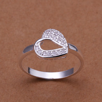 Free Shipping Christmas Gift Silver Plated Fashion Health Jewelry Nickle free Sweet Heart Rhinestone Engagement Ring R913