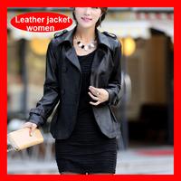 2014 Winter New Arrival Pu Leather Jacket, Turn Down Collar Black Jacket Blazer Women 1201