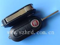 Fiat ley cover 3 button modified flip remote key shell (black color)