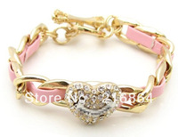 Free shipping(Min order usd15)2013 Fashion Hot sale Charm Pu Bracelets Retail and Wholesale heart rhinestone women's Bangle