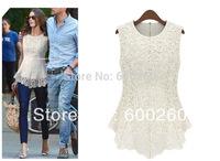 New 2014 Desigual Women White Lace Blouses Sexy Plus Size Crochet Lace Tops Women Blusa Renda Sleeveless Shirts