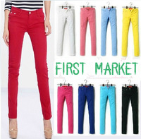 WOMENS SEXY SOLID STRETCH CANDY COLORED SLIM FIT SKINNY PANT TROUSERS HOT